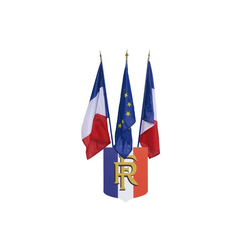 Écusson porte-drapeau mairie - vue blason avec drapeaux - MACAP