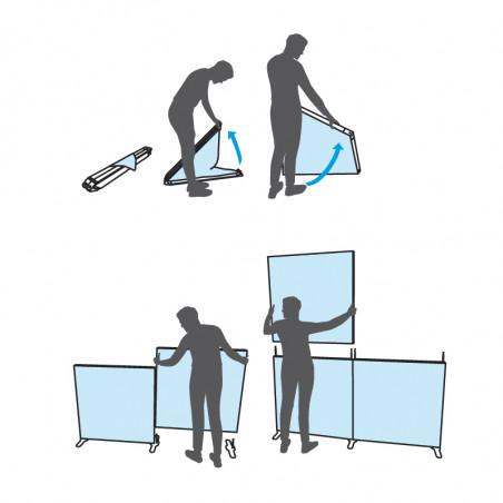 Illustration du montage de Cadre toile tendue modulable pliant autoportant