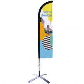 Beach flag - Oriflamme CLASSIQUE avec son pied en croix - Express 48h - MACAP