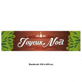 """Banderole Prête à imprimer """"Fête de Noël"""" (fixation oeillets) 100x400 cm - Modéle 2 MACAP"""
