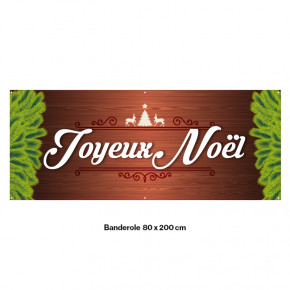"""Banderole Prête à imprimer """"Fête de Noël"""" (fixation oeillets) 80x200 cm - Modéle 2 MACAP"""