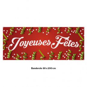 """Banderole Prête à imprimer """"Fête de Noël"""" (fixation oeillets) 80x200 cm - Modéle 3 MACAP"""