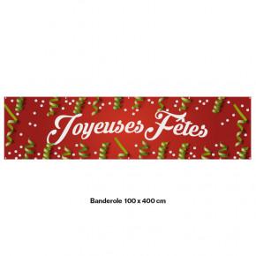 """Banderole Prête à imprimer """"Fête de Noël"""" (fixation oeillets) 100x400 cm - Modéle 3 MACAP"""