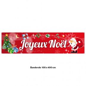 """Banderole Prête à imprimer """"Fête de Noël"""" (fixation oeillets) 100x400 cm - Modéle 5 MACAP"""