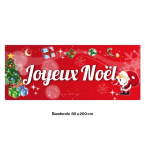 """Banderole Prête à imprimer """"Fête de Noël"""" (fixation oeillets) 80x200 cm - Modéle 5 MACAP"""