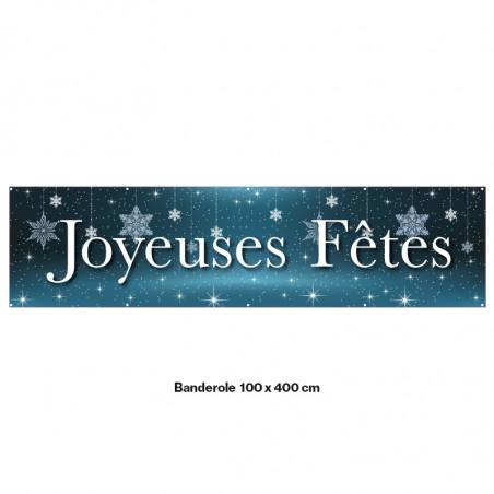 """Banderole Prête à imprimer """"Fête de Noël"""" (fixation oeillets) 100x400 cm - Modéle 6 MACAP"""