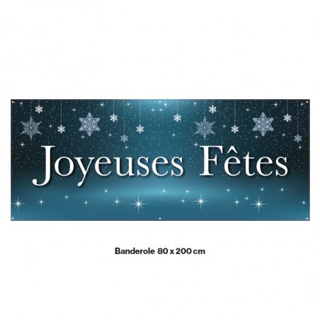 """Banderole Prête à imprimer """"Fête de Noël"""" (fixation oeillets) 80x200 cm - Modéle 6 MACAP"""