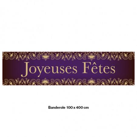 """Banderole Prête à imprimer """"Fête de Noël"""" (fixation oeillets) 100x400 cm - Modéle 7 MACAP"""