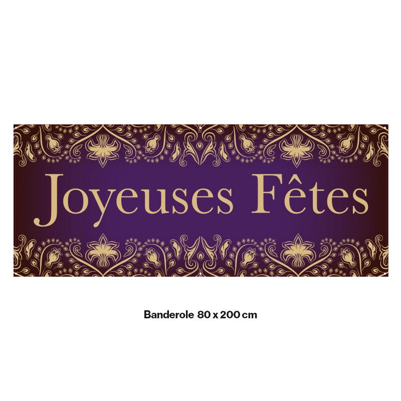 """Banderole Prête à imprimer """"Fête de Noël"""" (fixation oeillets) 80x200 cm - Modéle 7 MACAP"""