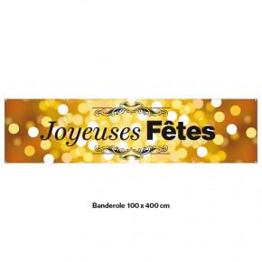 """Banderole Prête à imprimer """"Fête de Noël"""" (fixation oeillets) 100x400 cm - Modéle 8 MACAP"""