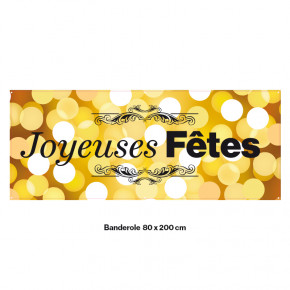 """Banderole Prête à imprimer """"Fête de Noël"""" (fixation oeillets) 80x200 cm - Modéle 8 MACAP"""