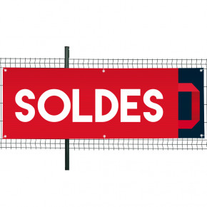 """Banderole Prête à imprimer """"SOLDES"""" (fixation oeillets) 80x200 cm - Modéle 1 MACAP"""