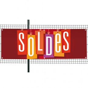 """Banderole Prête à imprimer """"SOLDES"""" (fixation oeillets) 80x200 cm - Modèle 2 MACAP"""