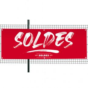 """Banderole Prête à imprimer """"SOLDES"""" (fixation oeillets) 80x200 cm - Modèle 3 MACAP"""