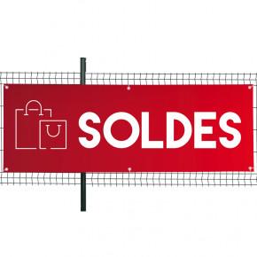 """Banderole Prête à imprimer """"SOLDES"""" (fixation oeillets) 80x200 cm - Modèle 4 MACAP"""