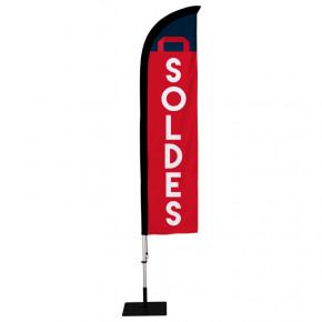 """Beach flag Prêt à imprimer """"SOLDES"""" (kit avec platine carrée) 2,8 m - Modèle 1 MACAP"""