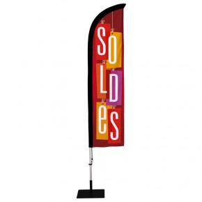 """Beach flag Prêt à imprimer """"SOLDES"""" (kit avec platine carrée) 2,8 m - Modèle 2 MACAP"""