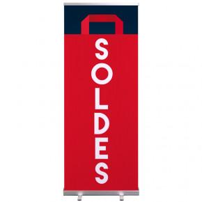 """Roll-up Prêt à imprimer """"SOLDES"""" (avec housse de transport) 80x200 cm - Modèle 1 MACAP"""