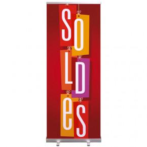 """Roll-up Prêt à imprimer """"SOLDES"""" (avec housse de transport) 80x200 cm - Modèle 2 MACAP"""