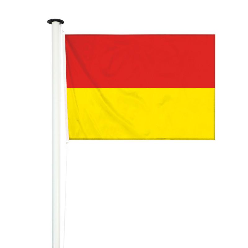 drapeau de baignade bicolore rouge et jaune pour mât (nouvelle réglementation)
