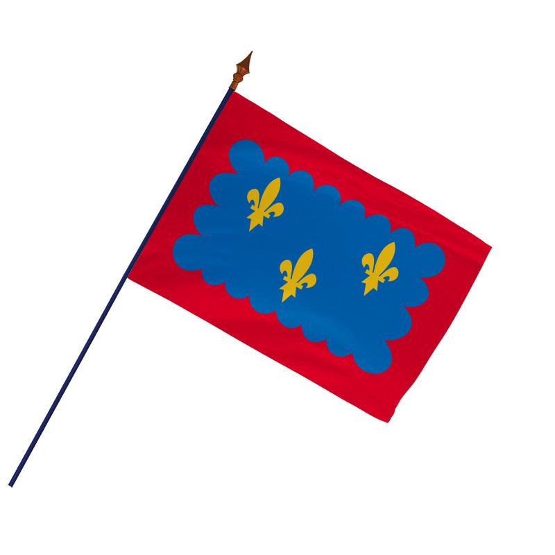 Drapeau Province Berry avec hampe et ourlets côtés  MACAP