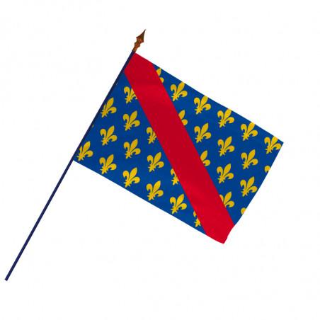 Drapeau Province Bourbonnais avec hampe et ourlets côtés| MACAP