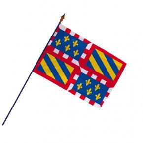 Drapeau Province Bourgogne avec hampe et ourlets côtés   MACAP