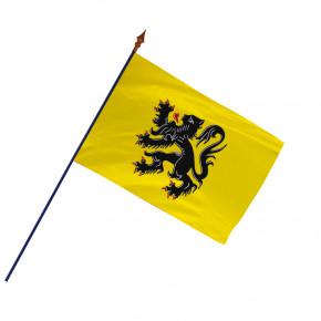 Drapeau Province Flandre  avec hampe et ourlets| MACAP