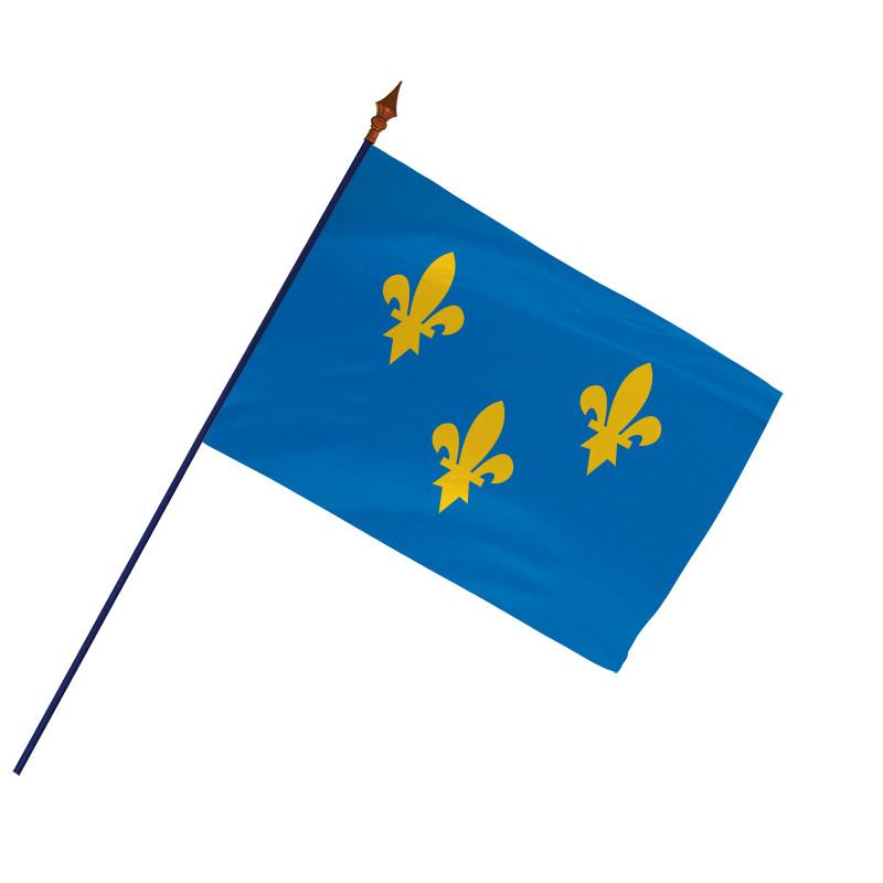 Drapeau Province Île de France avec hampe et ourlets   MACAP