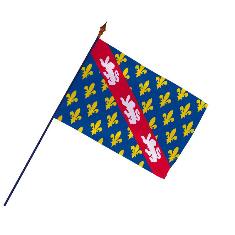 Drapeau Province Marche avec hampe et ourlets   MACAP