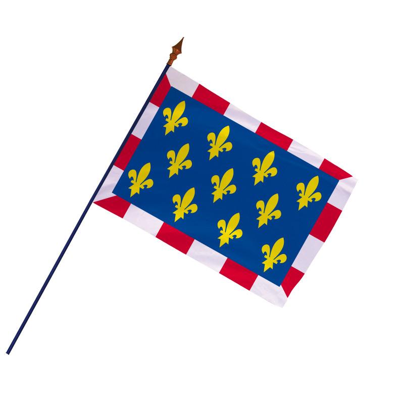 Drapeau Province Touraine avec hampe et ourlets  MACAP
