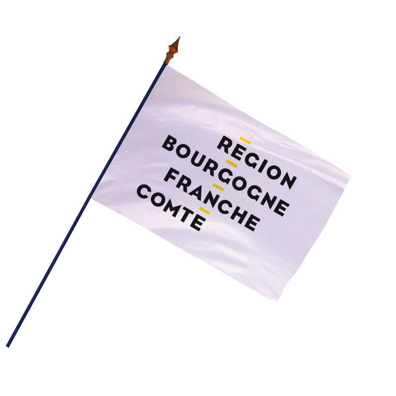 Drapeau Région Bourgogne-Franche-Comté avec hampe et ourlets côtés   MACAP