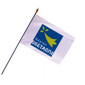 Drapeau Région Bretagne avec hampe et ourlets côtés | MACAP