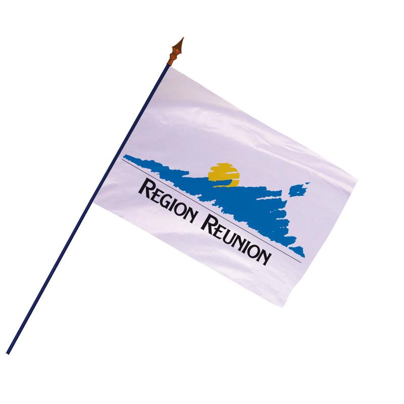 Drapeau Région de La Réunion avec hampe et ourlets côtés | MACAP