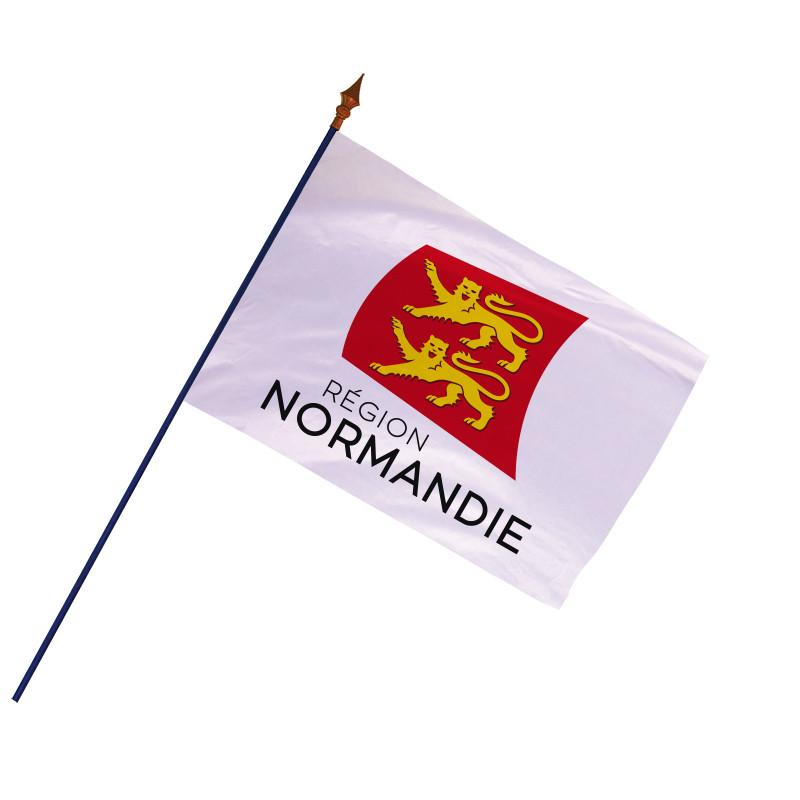 Drapeau Région Normandie avec hampe et ourlets côtés | MACAP