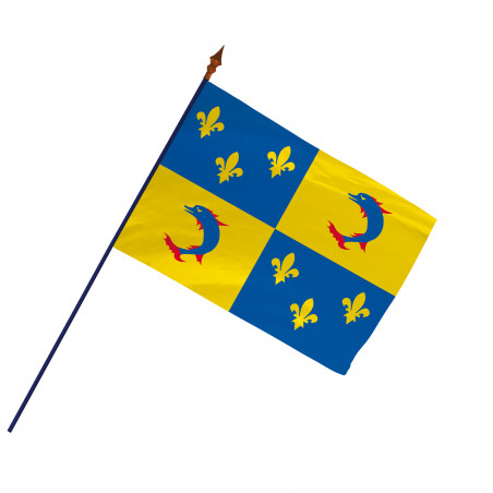 Drapeau Province Dauphiné  avec hampe et ourlets | MACAP