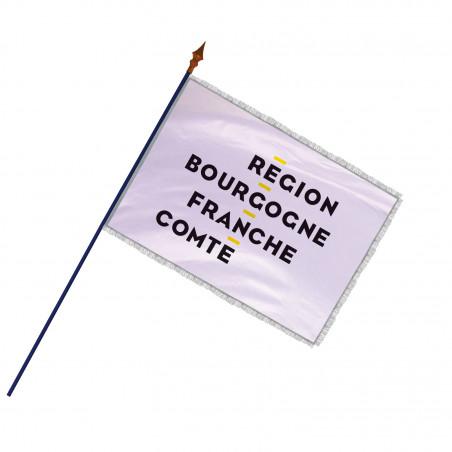 Drapeau Région Bourgogne-Franche-Comté avec hampe, franges et galon argent   MACAP