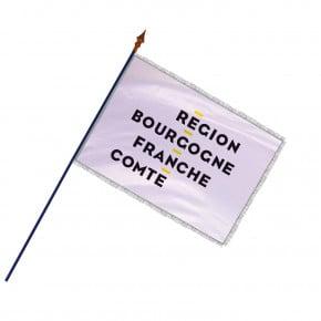 Drapeau Région Bourgogne-Franche-Comté avec hampe, franges et galon argent | MACAP