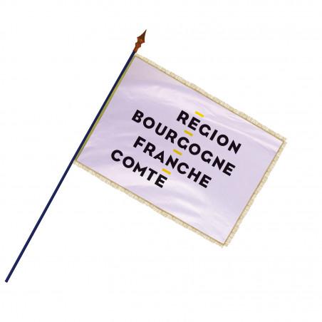 Drapeau Région Bourgogne-Franche-Comté avec hampe, franges et galon or   MACAP