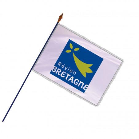 Drapeau Région Bretagne avec hampe , franges et galon argent | MACAP