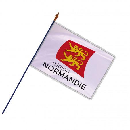 Drapeau Région Normandie avec hampe, frange et galon argent | MACAP