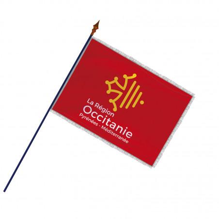 Drapeau Région Occitanie avec hampe, franges et galon argent   MACAP
