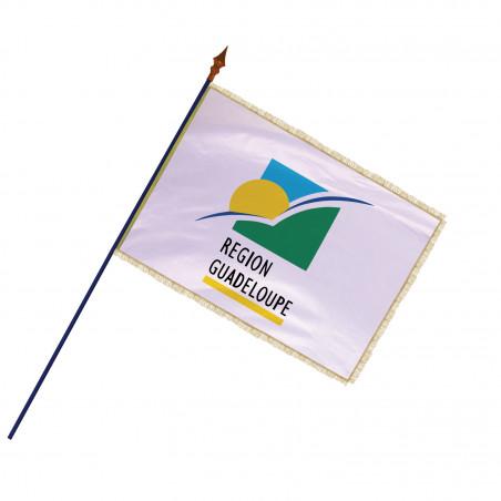Drapeau Région Guadeloupe avec hampe, frange et galon or  MACAP