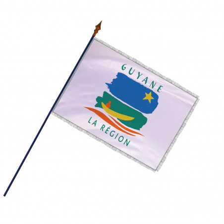 Drapeau Région Guyane avec hampe, franges et galon argent   MACAP