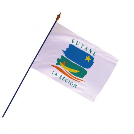 Drapeau Région Guyane avec hampe et ourlets côtés   MACAP