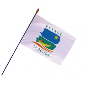 Drapeau Région Guyane avec hampe et ourlets côtés | MACAP