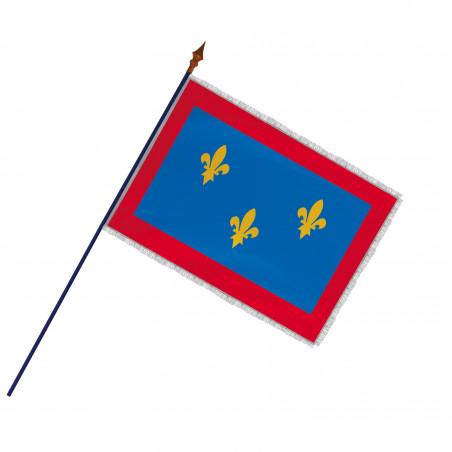 Drapeau Province Anjou avec hampe, franges et galon argent   MACAP