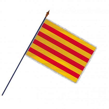 Drapeau Province Catalan avec hampe, franges et galon argent | MACAP