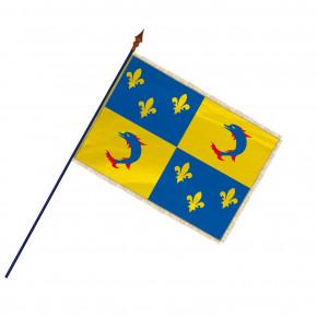 Drapeau Province Dauphiné  avec hampe, franges et galon or | MACAP