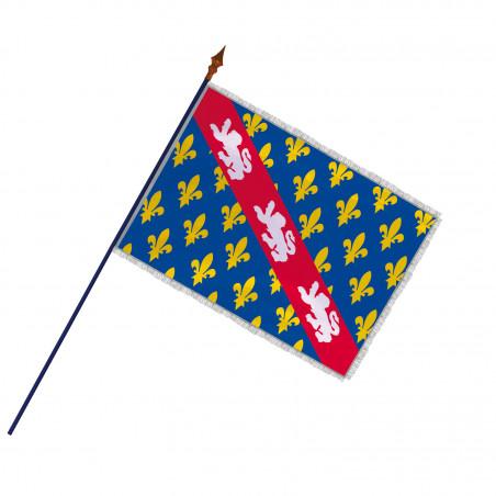 Drapeau Province Marche avec hampe, franges et galon argent   MACAP